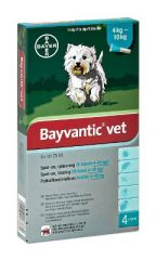 BAYVANTIC VET KOIRILLE 4-10 KG 100/500 mg paikallisvaleluliuos 4x1 ml